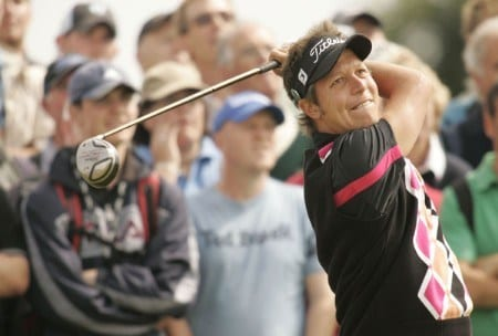 Fredrik Jacobson plays his tee shot on the 5th hole during the first round of the 2005 British Open Golf Championship at the Royal and Ancient Golf Club in St. Andrews, Scotland on July 14, 2005Photo by Pete Fontaine/WireImage.com