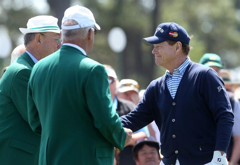 AUGUSTA, GA - APRIL 09:  Tom Watson greets members on the first tee during the second round of the 2010 Masters Tournament at Augusta National Golf Club on April 9, 2010 in Augusta, Georgia.  (Photo by Andrew Redington/Getty Images)