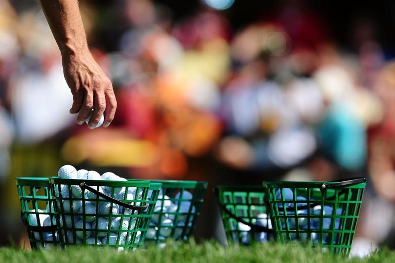 CHASKA, MN - AUGUST 12:  Range balls are seen on the practice ground during the third preview day of the 91st PGA Championship at Hazeltine National Golf Club on August 12, 2009 in Chaska, Minnesota.  (Photo by Stuart Franklin/Getty Images)
