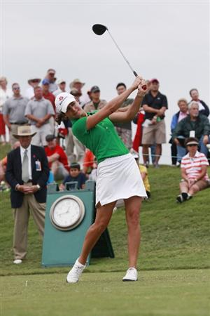 PRATTVILLE, AL - OCTOBER 4:  Lorena Ochoa of Mexico hits her drive from the first tee during final round play in the Navistar LPGA Classic at the Robert Trent Jones Golf Trail at Capitol Hill on October 4, 2009 in  Prattville, Alabama.  (Photo by Dave Martin/Getty Images)
