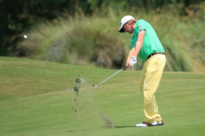 NEW ORLEANS, LA - APRIL 30: Webb Simpson hits his second shot on the 10th hole during the third round of the Zurich Classic at the TPC Louisiana on April 30, 2011 in New Orleans, Louisiana. (Photo by Hunter Martin/Getty Images)
