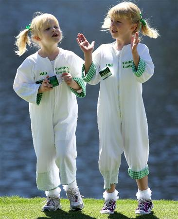 AUGUSTA, GA - APRIL 06:  Stuart Appleby's children (L-R) Mia and Ella watch the action during the Par 3 Contest prior to the 2011 Masters Tournament at Augusta National Golf Club on April 6, 2011 in Augusta, Georgia.  (Photo by Andrew Redington/Getty Images)
