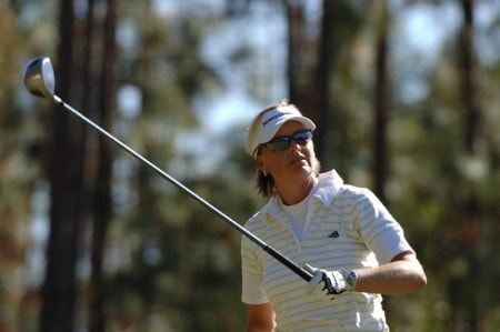 Liselotte Neumann follows a tee shot on the ninth hole during the second round of the 2005 Mitchell Company Tournament of Champions November 11, 2005 in Mobile, Alabama.Photo by Al Messerschmidt/WireImage.com