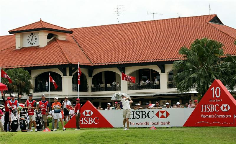 SINGAPORE - FEBRUARY 25:  Karrie Webb of the USA hits her tee-shot on the tenth hole during the second round of the HSBC Women's Champions at the Tanah Merah Country Club on February 25, 2011 in Singapore.  (Photo by Andrew Redington/Getty Images)