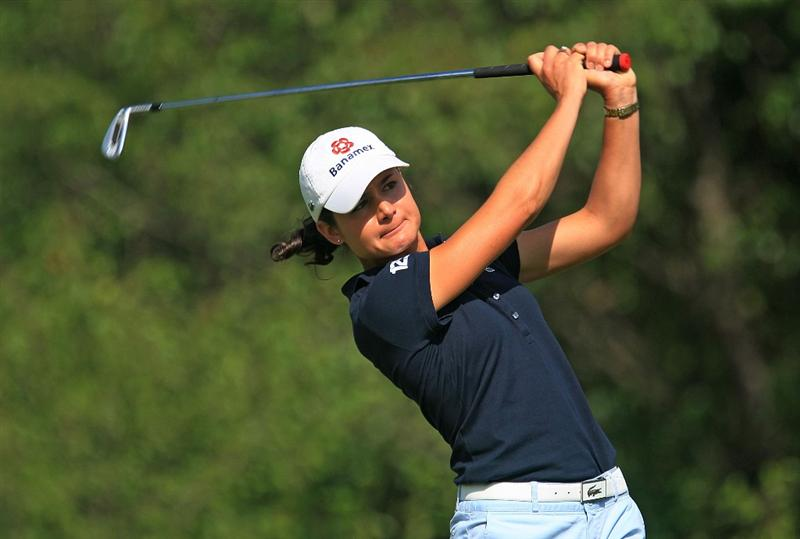 HUIXQUILUCAN, MEXICO - MARCH 21:  Lorena Ochoa of Mexico hits her tee shot on the 11th hole during the second round of the MasterCard Classic at the BosqueReal Country Club on March 21, 2009 in Huixquiucan, Mexico.  (Photo by Scott Halleran/Getty Images)