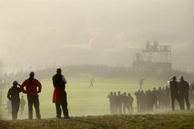 NEWPORT, WALES - OCTOBER 04:  General View of the 3rd green as Jim Furyk of the USA putts in the singles matches during the 2010 Ryder Cup at the Celtic Manor Resort on October 4, 2010 in Newport, Wales. (Photo by Richard Heathcote/Getty Images)