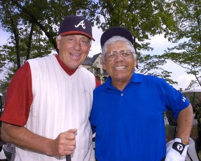Phil Niekro and Lee Trevino on the first tee   during the Regions Charity Classic Charter Communications Pro-Am at Robert Trent  Jones Golf Trail at Ross Bridge in Birmingham Alabama on May 3, 2006.Photo by Al Messerschmidt/WireImage.com