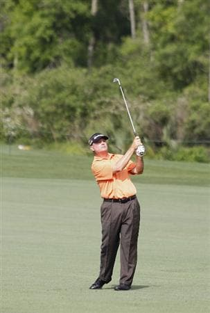 HUMBLE, TX - APRIL 01: Paul Goydos hits a shot from the fairway during the second round of the Shell Houston Open at Redstone Golf Club on April 1, 2011 in Humble, Texas.  (Photo by Michael Cohen/Getty Images)