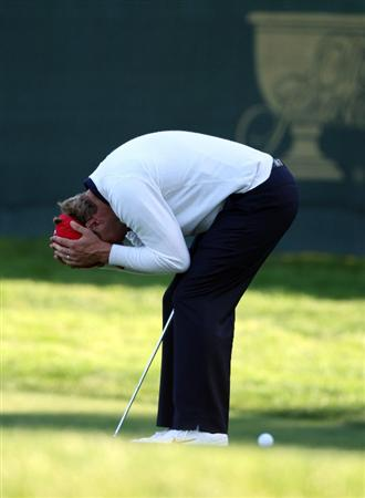 SAN FRANCISCO - OCTOBER 09: Lucas Glover of the USA team fails with a birdie putt at the 17th hole during the Day Two Fourball Matches in The Presidents Cup at Harding Park Golf Course on October 9, 2009 in San Francisco, California  (Photo by David Cannon/Getty Images)