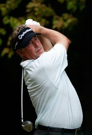 GREENSBORO, NC - AUGUST 23:  Michael Allen watches his tee shot on the 2nd hole during the final round of the Wyndham Championship at Sedgefield Country Club on August 23, 2009 in Greensboro, North Carolina  (Photo by Streeter Lecka/Getty Images)