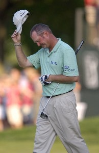 Hometown favorite, Jerry Kelly during the fourth and final round of the U.S. Bank Championship in Milwaukee at Brown Deer Park Golf Course in Milwaukee, Wisconsin, on July 30, 2006.Photo by Steve Levin/WireImage.com