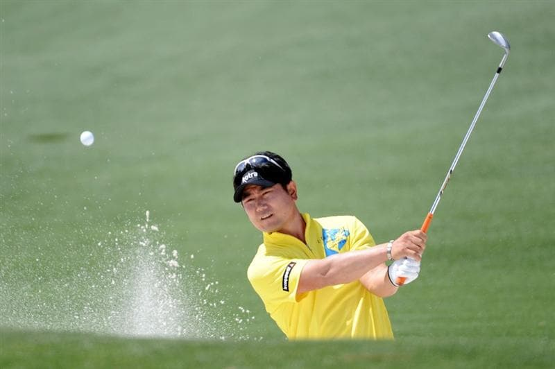 AUGUSTA, GA - APRIL 10:  Y.E. Yang of South Korea plays a bunker shot on the second hole during the third round of the 2010 Masters Tournament at Augusta National Golf Club on April 10, 2010 in Augusta, Georgia.  (Photo by Harry How/Getty Images)