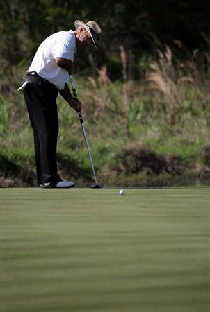LUTZ, FL - APRIL 18:  Blaine McCallister putts on the 18th hole during the second round of the Outback Steakhouse Pro-Am at TPC Tampa Bay on April 18, 2009  in Lutz, Florida.   (Photo by Marc Serota/Getty Images)