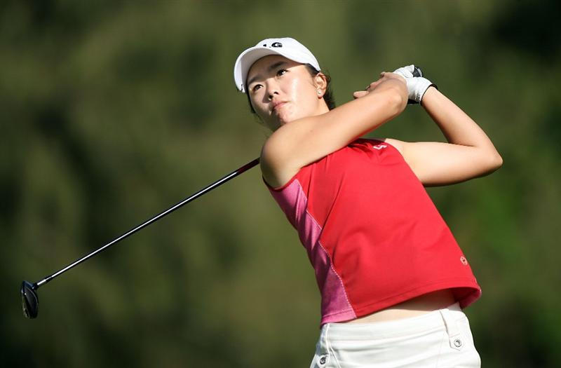 KAHUKU, HI - FEBRUARY 14:  Angela Park of Brazil hits her tee shot on the 17th hole during the final round of the SBS Open on February 14, 2009 at the Turtle Bay Resort in Kahuku, Hawaii.  (Photo by Andy Lyons/Getty Images)