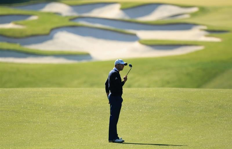 CHARLOTTE, NC - MAY 05:  Sergio Garcia of Spain looks at his club as he waits to hit on the 5th hole during the first round of the Wells Fargo Championship at Quail Hollow Club on May 5, 2011 in Charlotte, North Carolina.  (Photo by Streeter Lecka/Getty Images)