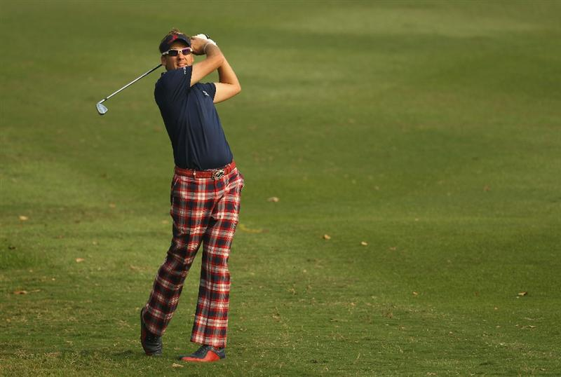 HONG KONG - NOVEMBER 19:  Ian Poulter of England in action during day two of the UBS Hong Kong Open at The Hong Kong Golf Club on November 19, 2010 in Hong Kong, Hong Kong.  (Photo by Ian Walton/Getty Images)