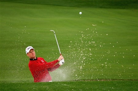 AUGUSTA, GA - APRIL 07:  Robert Karlsson of Sweden hits from a bunker during the first day of practice prior to the start of the 2008 Masters Tournament at Augusta National Golf Club on April 7, 2008 in Augusta, Georgia.  (Photo by Andrew Redington/Getty Images)