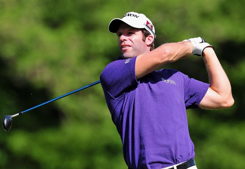 TURIN, ITALY - MAY 07:  Bradley Dredge of Wales plays his approach shot on the seventh hole during the first round of the BMW Italian Open at Royal Park I Roveri on May 7, 2009 near Turin, Italy.  (Photo by Stuart Franklin/Getty Images)