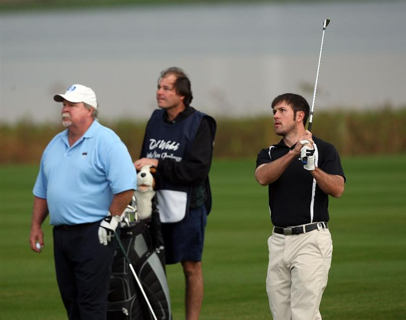 CHAMPIONS GATE, FL - DECEMBER 06:  Craig Stadler of the USA with his son Chris Stadler on the 1st hole during the first round of the Del Webb Father Son Challenge on the International Course at Champions Gate Golf Club on December 6, 2008 in Champions Gate, Florida.  (Photo by David Cannon/Getty Images)