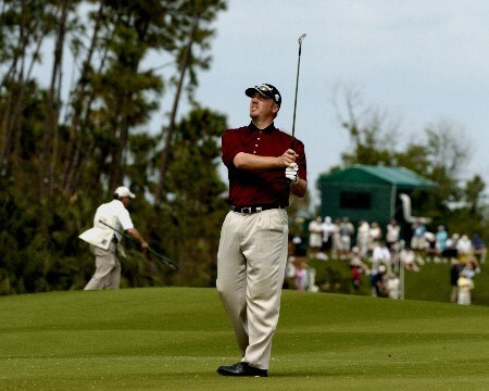 Brett Wetterich  hits from the first fairway   in  second  round competition at the 2005 Honda Classic March 11, 2005 in Palm Beach Gardens, Florida. Wetterich shot 66 to take the second round lead at 12 under par.