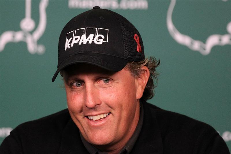 AUGUSTA, GA - APRIL 05:  Phil Mickelson speaks with the media during a practice round prior to the 2011 Masters Tournament at Augusta National Golf Club on April 5, 2011 in Augusta, Georgia.  (Photo by David Cannon/Getty Images)