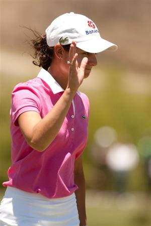 MORELIA, MEXICO - MAY 2: Lorena Ochoa of Mexico waves to the crowd during the fourth round of the Tres Marias Championship at the Tres Marias Country Club on May 2, 2010 in Morelia, Mexico. (Photo by Darren Carroll/Getty Images)
