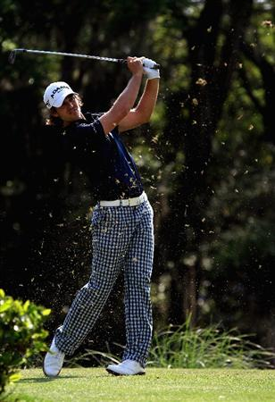 HILTON HEAD ISLAND, SC - APRIL 22:  Aaron Baddeley of Australia hits a tee shot on the 14th hole during the second round of The Heritage at Harbour Town Golf Links on April 22, 2011 in Hilton Head Island, South Carolina.  (Photo by Streeter Lecka/Getty Images)