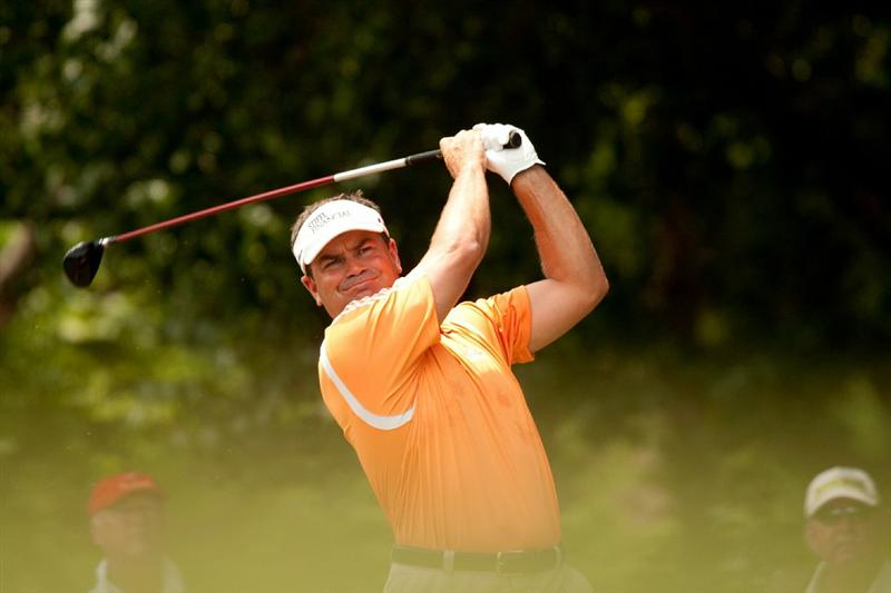 IRVING, TX - MAY 22: Jay Williamson follows through on a tee shot during the third round of the HP Byron Nelson Championship at TPC Four Seasons Resort Las Colinas on May 22, 2010 in Irving, Texas. (Photo by Darren Carroll/Getty Images)