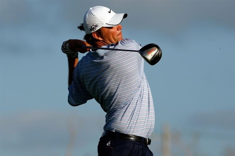 RIVIERA MAYA, MEXICO - FEBRUARY 27:  Bo Van Pelt tees off on the fifth hole during the second round of the Mayakoba Golf Classic on February 27, 2009 at El Camaleon Golf Club in Riviera Maya, Mexico.  (Photo by Chris Graythen/Getty Images)