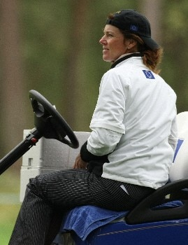HALMSTAD, SWEDEN - SEPTEMBER 12:  European Team Captain Helen Alfredsson watches the play during practice prior to the start of the Solheim Cup at Halmstad Golf Club on September 12, 2007 in Halmstad, Sweden.  (Photo by Jonathan Ferrey/Getty Images)