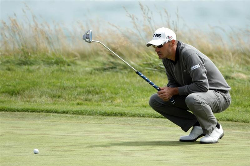 PEBBLE BEACH, CA - JUNE 20:  Gregory Havret of France waits on the tenth green during the final round of the 110th U.S. Open at Pebble Beach Golf Links on June 20, 2010 in Pebble Beach, California.  (Photo by Andrew Redington/Getty Images)