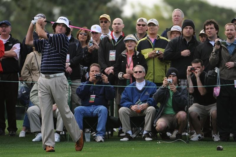 AUGUSTA, GA - APRIL 06:  Bubba Watson hits a shot while patrons watch during a practice round prior to the 2009 Masters Tournament at Augusta National Golf Club on April 6, 2009 in Augusta, Georgia.  (Photo by Harry How/Getty Images)