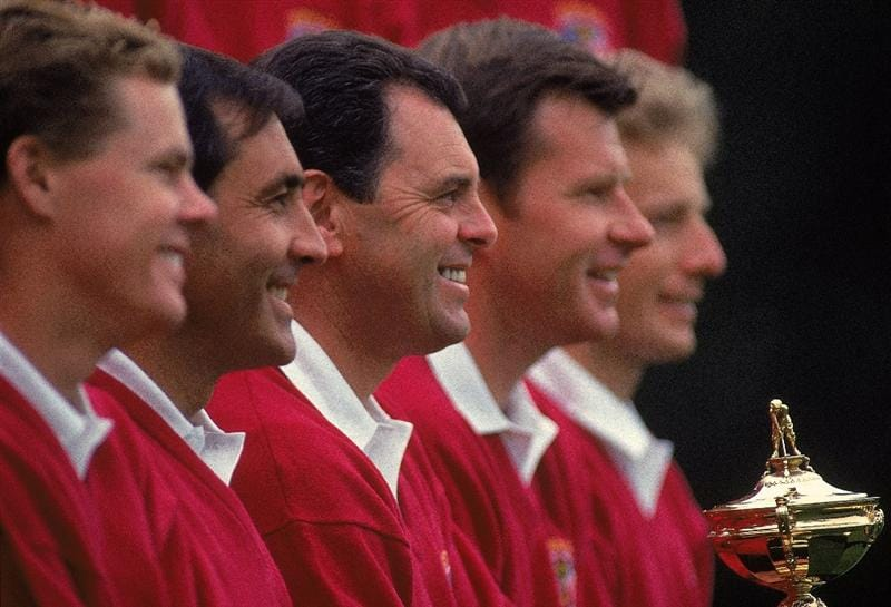 24 Sep 1993:  European team captain Bernard Gallacher is flanked by (L to R) Joakim Haeggman, Seve Ballesteros, Nick Faldo and Bernhard Langer before the Ryder Cup in Sutton Coldfield, England. \ Mandatory Credit: Chris Cole /Allsport