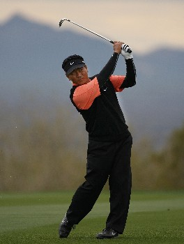 MARANA, AZ - FEBRUARY 22:  K.J. Choi of South Korea hits his second shot on the 15th hole during the third round matches of the WGC-Accenture Match Play Championship at The Gallery at Dove Mountain on February 22, 2008 in Marana, Arizona.  (Photo by Travis Lindquist/Getty Images)