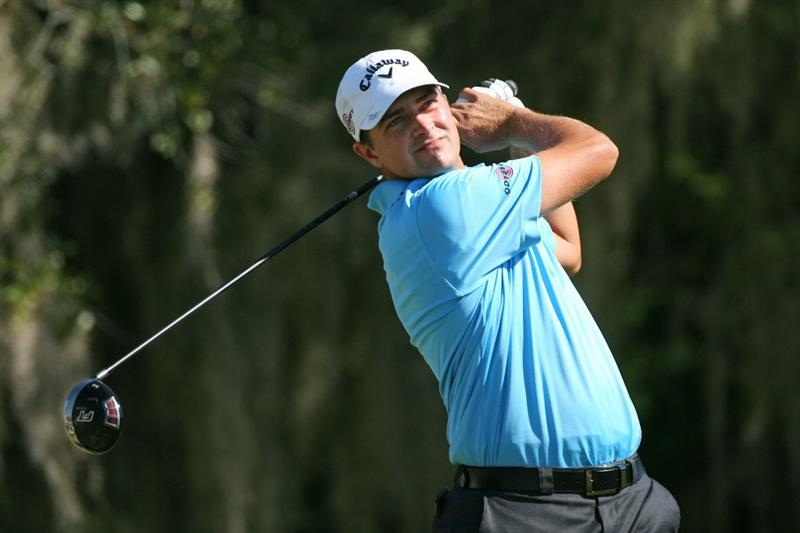 SEA ISLAND, GA - OCTOBER 8: Brian Stuard watches his tee shot on the ninth hole during the second round of the McGladrey Classic at Sea Island Resort's Seaside Course on October 8, 2010 in Sea Island, Georgia. (Photo by Hunter Martin/Getty Images)