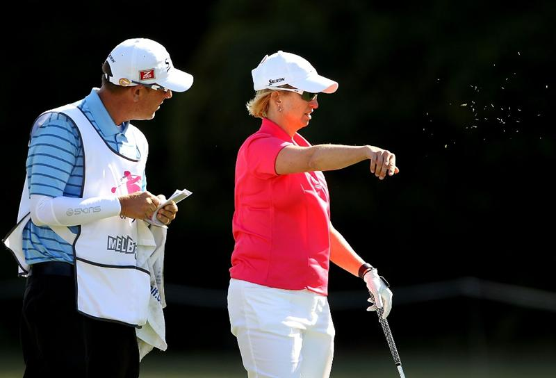 MELBOURNE, AUSTRALIA - MARCH 11:  Karrie Webb of Australia checks the wind conditions on the 16th hole during round one of the 2010 Women's Australian Open at The Commonwealth Golf Club on March 11, 2010 in Melbourne, Australia.  (Photo by Mark Dadswell/Getty Images)