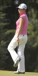 Shi Hyun Ahn reacts after missing a birdie attempt on the ninth hole during the first round of the Wegmans LPGA in Rochester, New York, Thursday, June 22, 2006.Photo by Kevin Rivoli/WireImage.com
