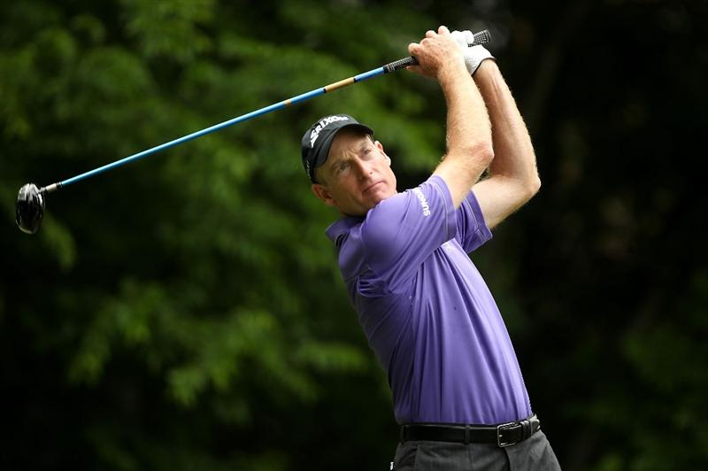 CHARLOTTE, NC - MAY 01:  Jim Furyk wtaches his tee shot on the 5th hole during the third round of the Quail Hollow Championship at Quail Hollow Country Club on May 1, 2010 in Charlotte, North Carolina.  (Photo by Streeter Lecka/Getty Images)
