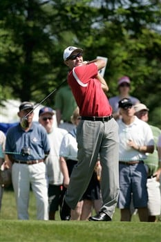 GLENVIEW, IL - JUNE 1:  David McKenzie of Australia follows through on his swing to start play on the first hole tee box during the final round of the Bank of America Open at The Glen Club June 1, 2008 in Glenview, Illinois. (Photo by Scott Boehm/Getty Images)