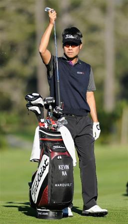 PEBBLE BEACH, CA - FEBRUARY 12:  Kevin Na waits to play his approach shot on the nineth hole during the third round of the AT&T Pebble Beach National Pro-Am at the Spyglass Hil Golf Course on February 11, 2011  in Pebble Beach, California  (Photo by Stuart Franklin/Getty Images)