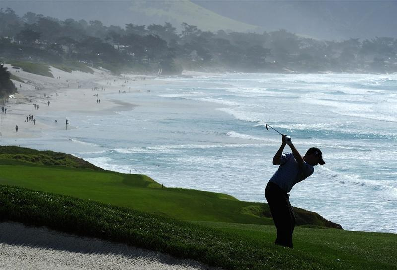 PEBBLE BEACH, CA - FEBRUARY 12:  Jeff Klauk plays a shot on the nineth hole during round two of the AT&T Pebble Beach National Pro-Am at Pebble Beach Golf Links on February 12, 2010 in Pebble Beach, California.  (Photo by Stuart Franklin/Getty Images)