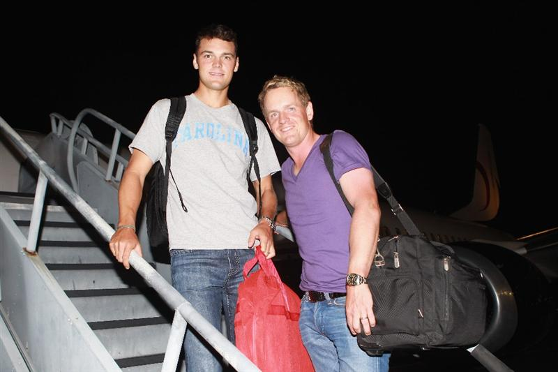 JACKSONVILLE, FL - MAY 15:  European Tour players Martin Kaymer of Germany and Luke Donald of England board a plane departing from the Jacksonville Airport for Spain and the Volvo World Match Play Championship on May 15, 2011 in Jacksonville, Florida.  (Photo by Scott Halleran/Getty Images for IMG)