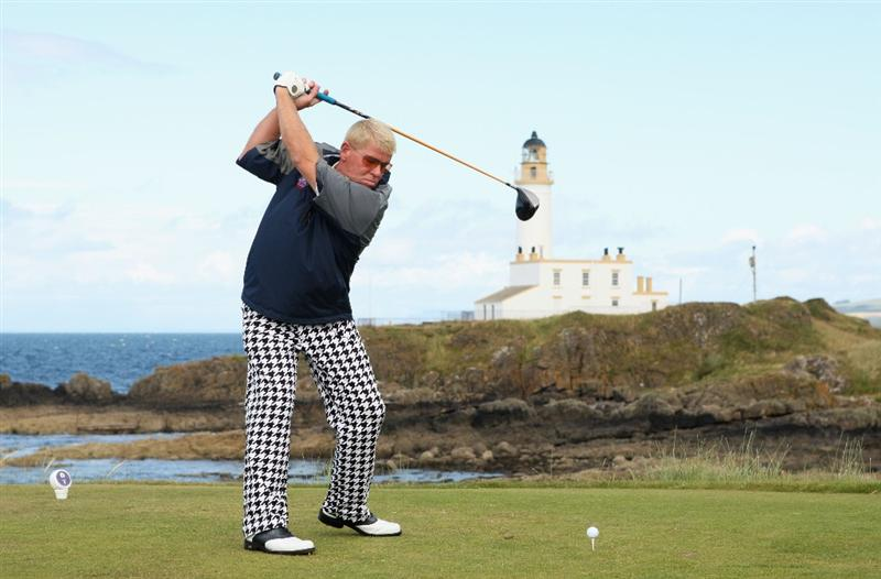TURNBERRY, SCOTLAND - JULY 19:  John Daly of USA tees off on the 9th hole during the final round of the 138th Open Championship on the Ailsa Course, Turnberry Golf Club on July 19, 2009 in Turnberry, Scotland.  (Photo by Warren Little/Getty Images)