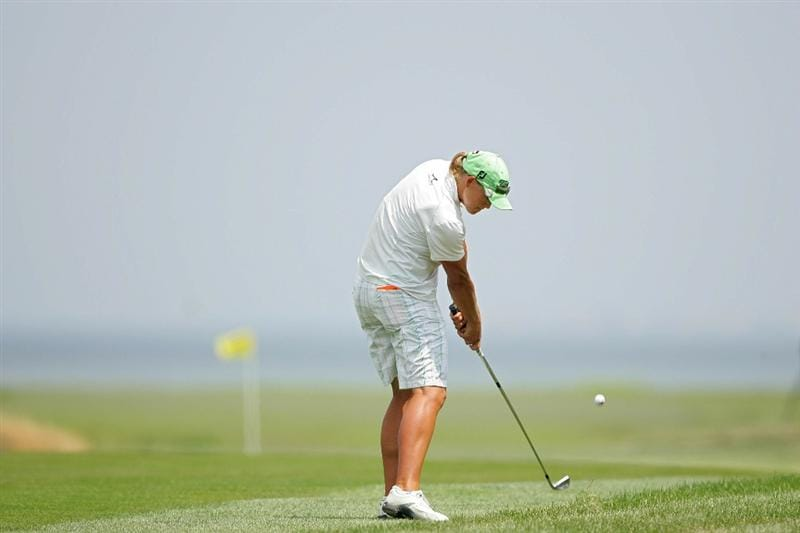 GALLOWAY, NJ - JUNE 20: Katherine Hull of Australia hits her second shot on the second hole during the final round of the ShopRite LPGA Classic held at Dolce Seaview Resort (Bay Course) on June 20, 2010 in Galloway, New Jersey.  (Photo by Michael Cohen/Getty Images)
