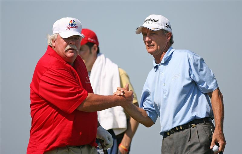 SAVANNAH, GA - APRIL 24 : (L-R) Roger Maltbie shakes hands with his playing partner Gary Koch on the 18th hole during the first round of the Liberty Mutual Legends of Golf at the Westin Savannah Harbor Golf Resort and Spa on April 24, 2009 in Savannah, Georgia. (Photo by Hunter Martin/Getty Images)