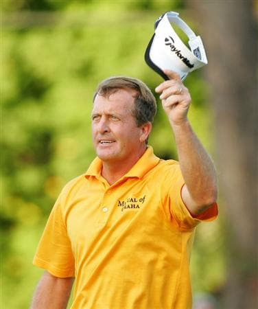 TIMONIUM, MD - OCTOBER 12: Fred Funk acknowledges the gallery on the 18th green during the final round of the Constellation Energy Senior Players Championship at Baltimore Country Club East Course held on October 12, 2008 in Timonium, Maryland (Photo by Michael Cohen/Getty Images)
