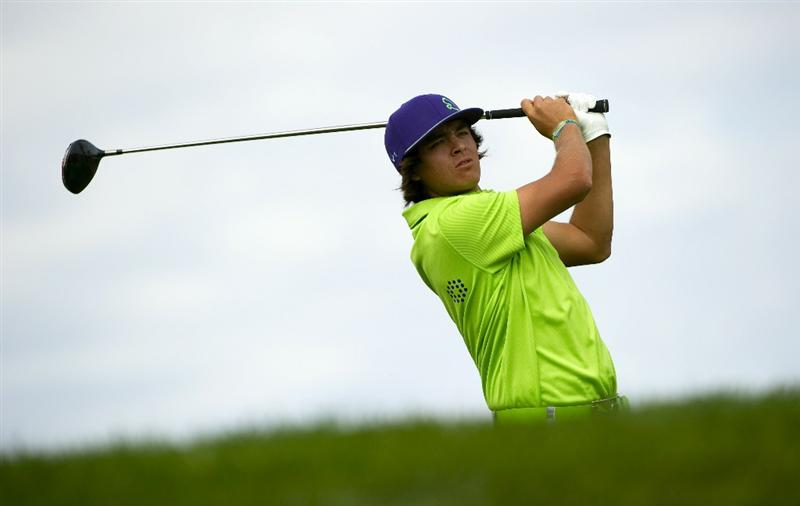 SAN MARTIN, CA - OCTOBER 16:  Rickie Fowler makes a tee shot on the sixth hole during the third round of the Frys.com Open at the CordeValle Golf Club on October 16, 2010 in San Martin, California.  (Photo by Robert Laberge/Getty Images)