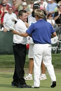 Scott Verplank reacts to his winning moment after the fourth and final round of the EDS Byron Nelson Championship held on the Tournament Players Course at TPC Four Seasons Resort Las Colinas in Irving, Texas, on April 29, 2007. Photo by: Stan Badz/PGA TOURPhoto by: Stan Badz/PGA TOUR