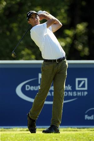 NORTON, MA - SEPTEMBER 04:  Geoff Ogilvy of Australia hits a shot on the 17th tee during the second round of the Deutsche Bank Championship at TPC Boston on September 4, 2010 in Norton, Massachusetts.  (Photo by Mike Ehrmann/Getty Images)