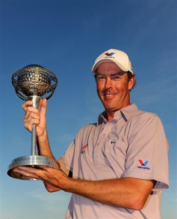 VILAMOURA, PORTUGAL - OCTOBER 17:  Richard Green of Australia holds the winners trophy after the final round of the Portugal Masters at the Oceanico Victoria Golf Course on October 17, 2010 in Vilamoura, Portugal.  (Photo by Stuart Franklin/Getty Images)
